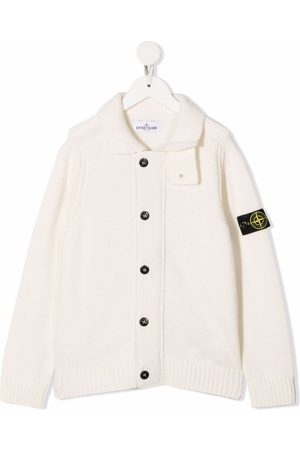 Stone Island Girls Cardigans - Compass patch button-up cardigan