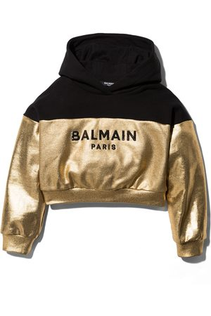 Balmain Girls Hoodies - Metallic logo print hoodie