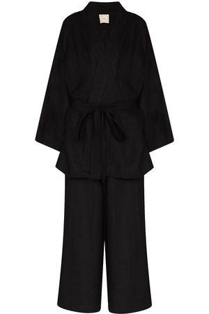 Deiji Studios Women Loungewear - DEIJI STN WSHD DEEP BLK KMN TP N PNT 01