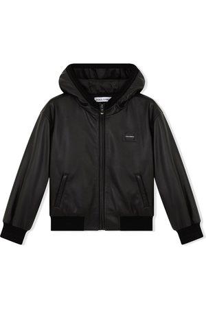 Dolce & Gabbana Boys Bomber Jackets - Logo-patch hooded leather coat