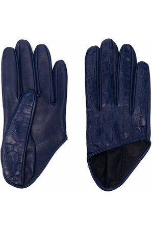 Manokhi Women Gloves - Croc-effect leather gloves