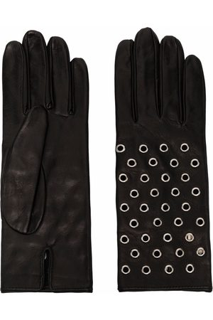 Manokhi Eyelet-detail leather gloves