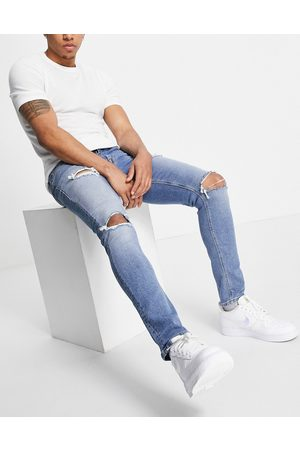 ASOS Men Skinny - Skinny jeans in 'less thirsty' light wash with rips