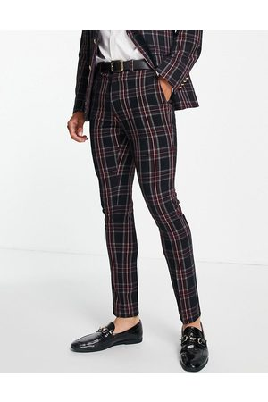 ASOS Men Skinny Pants - Skinny suit trousers in tartan check with gold button