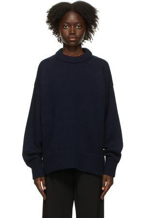 Women Jumpers - The Row Navy Ophelia Sweater