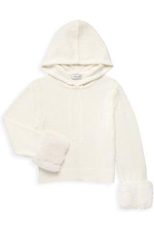 Milly Girls Hoodies - Girl's Faux Fur Trim Knit Hoodie