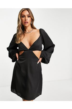 In The Style Women Evening Dresses - X Yasmin Chanel satin cut out volume sleeve skater dress in