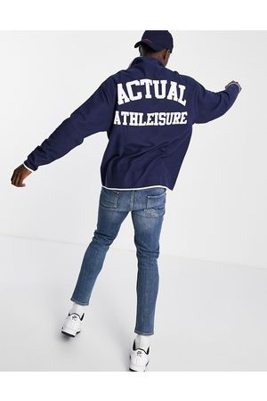 ASOS Oversized polar fleece sweatshirt with popper fastening with chest and back print in navy