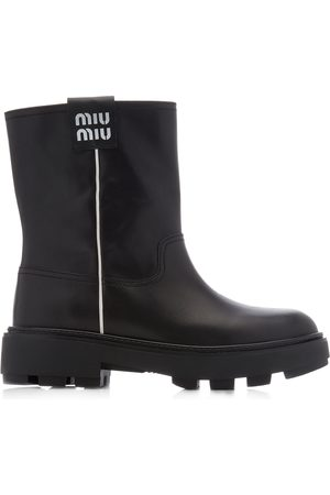 Miu Miu Women's Logo-Detailed Leather Ankle Boots