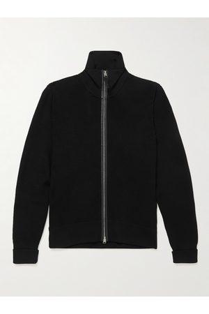 Tom Ford Men Hoodies - Slim-Fit Leather-Trimmed Wool Zip-Up Cardigan