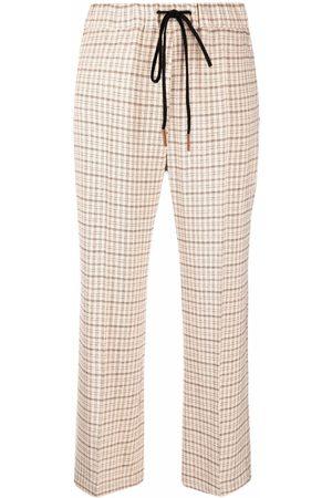 ALYSI Women Pants - Checked straight-leg trousers
