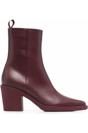 Gianvito Rossi Women Ankle Boots - Pointed leather heeled ankle boots
