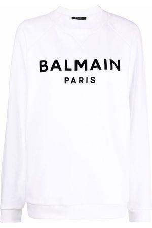 Balmain Flocked logo-print raglan-sleeve sweatshirt