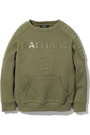 Balmain Kids Logo-embossed cotton sweatshirt