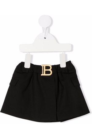 Balmain Kids Logo plaque skirt