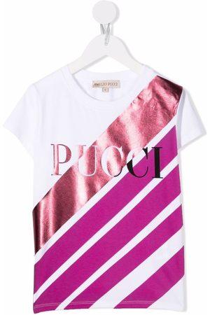 Emilio Pucci Junior Logo stripe print T-shirt
