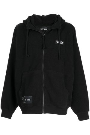 izzue Embroidered slogan shearling hoodie