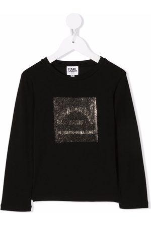 Karl Lagerfeld Kids Logo rhinestone T-shirt