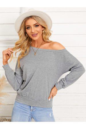 YOINS Grey One Shoulder Long Sleeves Sweatshirt