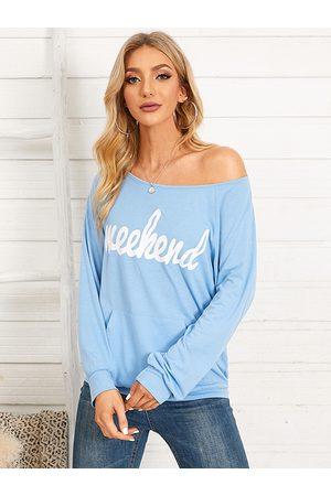 YOINS Letter One Shoulder Pocket Design Sweatshirt