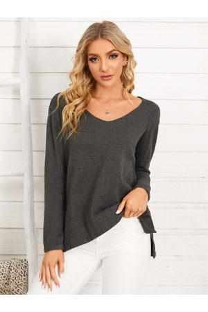 YOINS Plain One Shoulder V-neck Long Sleeves Slit Hem Sweater