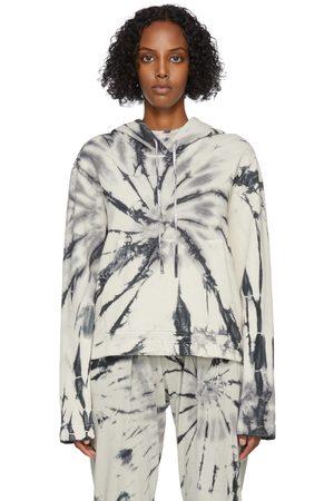 Raquel Allegra Grey & Navy Tie-Dye Crop Hoodie