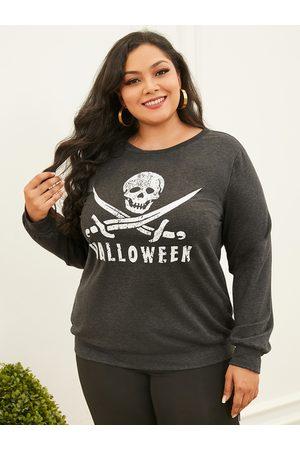 YOINS Women Long Sleeve - Plus Size Letter Graphic Long Sleeves Sweatshirt