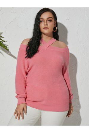 Yoins Plus Size Crossed Collar Long Sleeves Sweater