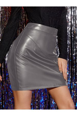 Yoins Stretch Faux Leather Zip Back Fastening Mini Skirt