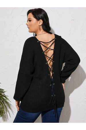 Yoins Plus Size Backless Design Lace-Up Design Long Sleeves Sweater