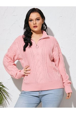 Yoins Plus Size V-neck Zip Front Long Sleeves Sweater