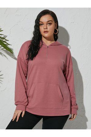 Yoins Plus Size Pullover Hooded Design Zip Front Pocket Sweatshirt