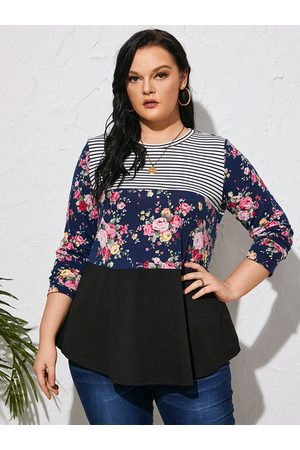 Yoins Plus Size Striped Floral Print Patchwork Design Long Sleeves Tee