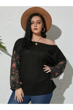 Yoins Women Long Sleeve - Plus Size One Shoulder Mesh Long Sleeves Knitwear