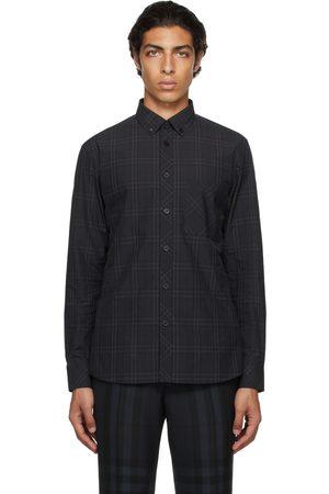 Burberry Black Poplin Check Shirt
