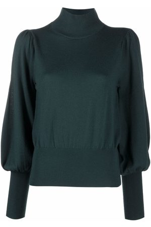 ZIMMERMANN Puff-sleeve roll-neck knitted top