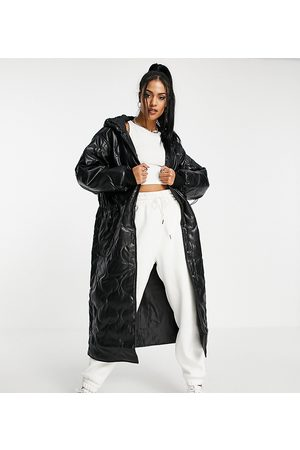 ASOS Tall ASOS DESIGN Tall faux leather quilted hooded puffer coat in
