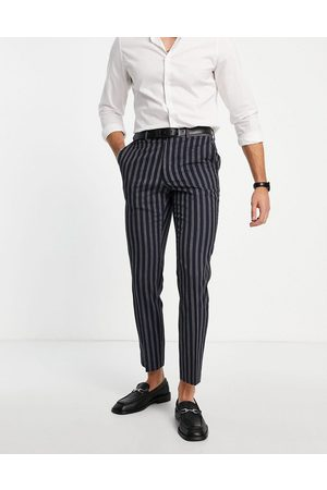 French Connection Men Skinny Pants - Slim fit linen stripe suit trousers-Navy