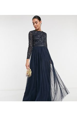 Maya Tall Women Party Dresses - Bridesmaid long sleeve maxi tulle dress with tonal delicate sequins in navy