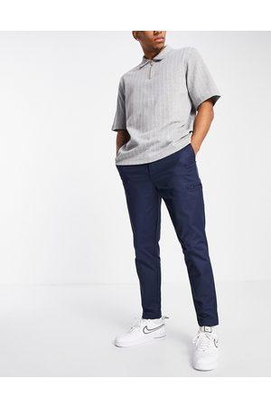 SELECTED Nylon trouser in slim tapered navy