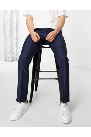French Connection Slim fit striped trousers-Navy