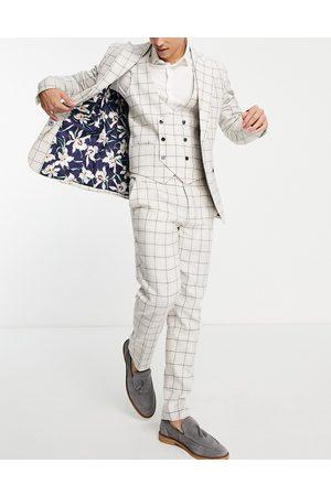 Gianni Feraud Men Skinny Pants - Skinny fit cream windowpane suit trousers