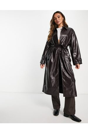 ASOS DESIGN Crinkle faux leather trench coat in oxblood