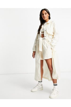 adidas Adiolor trench coat jacket in oatmeal-Neutral