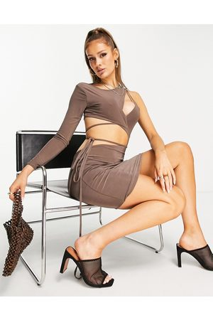 Missguided Women Evening Dresses - One shoulder slinky mini dress with tie front in