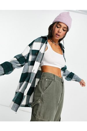 Noisy May Oversized brushed shacket in green check-Multi