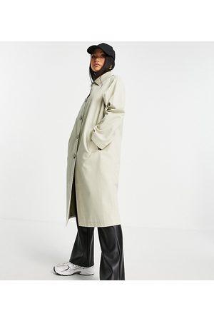 ASOS ASOS DESIGN Petite longline trench coat in stone-Neutral