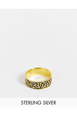 ASOS DESIGN Sterling silver band ring with wave design in burnished tone