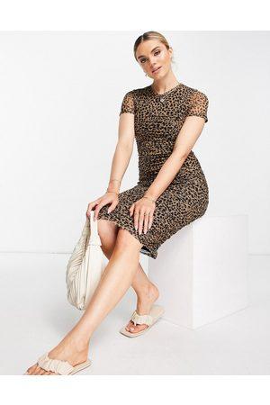 River Island Ruched leopard print midi dress in