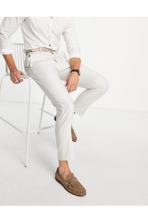 French Connection Linen slim fit suit trousers-Neutral
